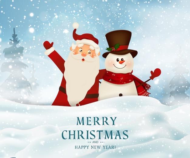 Feliz natal. feliz ano novo. sorrindo papai noel e boneco de neve bonito grande sinal em branco. fundo de natal. Vetor Premium
