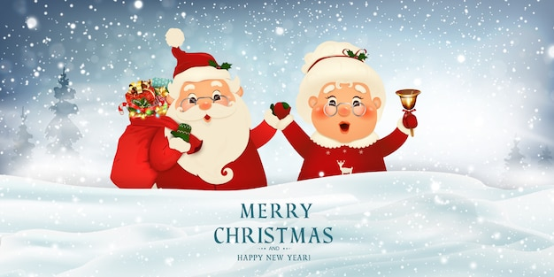 Feliz natal. feliz ano novo. sra. claus juntos. personagem de desenho animado de feliz papai noel e sua esposa em grande cartaz em branco. paisagem do inverno do feriado com abetos, luz, neve. Vetor Premium