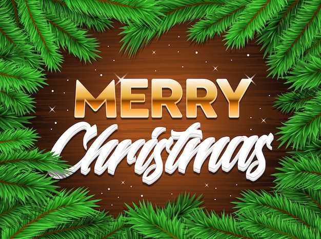Feliz natal feliz banner fundo de natal de galhos de árvore Vetor Premium