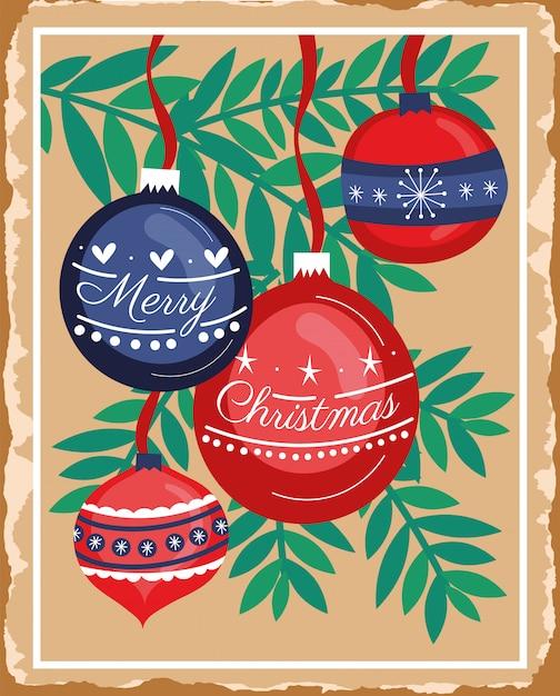 Feliz natal feliz cartão com folhas e bolas penduradas Vetor grátis
