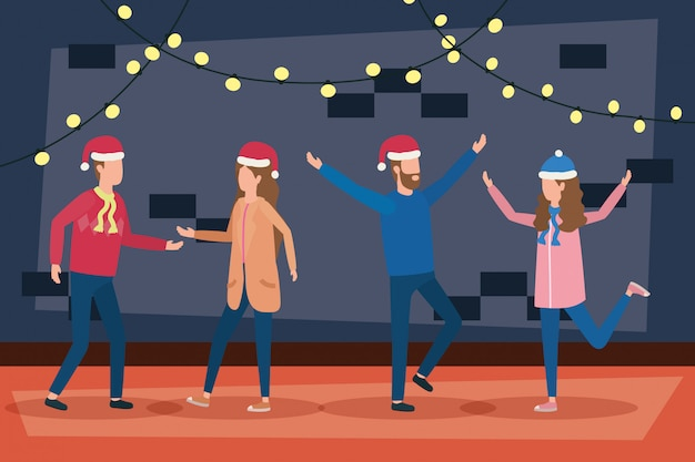 Feliz natal feliz casais comemorando Vetor Premium