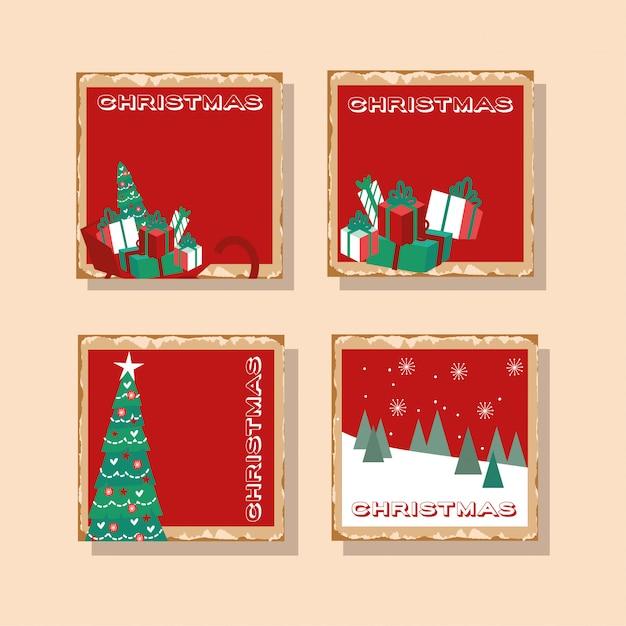 Feliz natal feliz pacote de cartões Vetor grátis