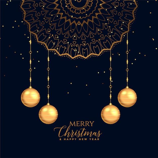 Feliz natal festival cartão decorativo fundo Vetor grátis