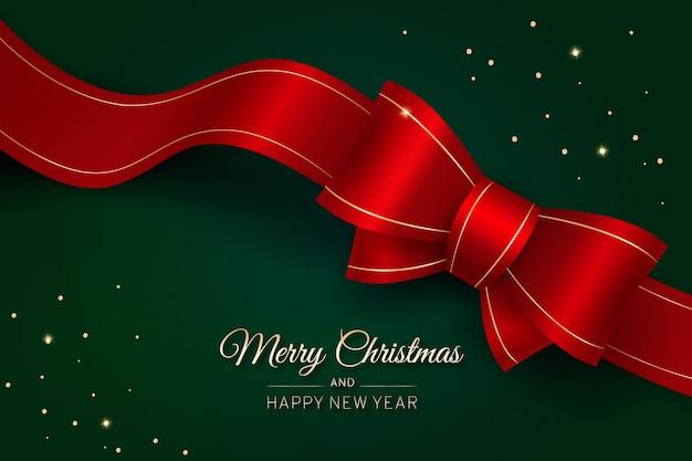 Feliz natal fita vermelha com laço Vetor Premium