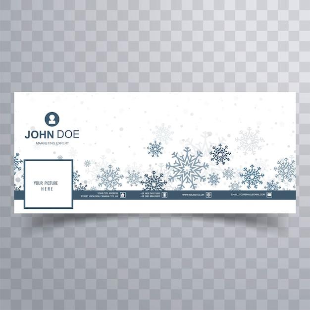 Feliz natal flocos de neve banner modelo vector Vetor grátis
