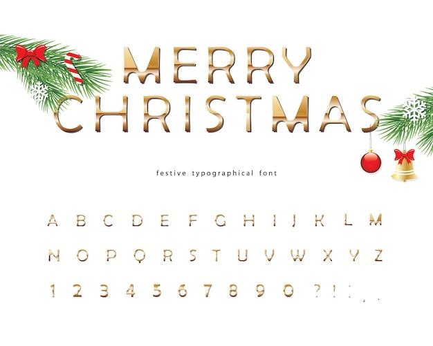 Feliz natal fonte decorativa dourada. Vetor Premium