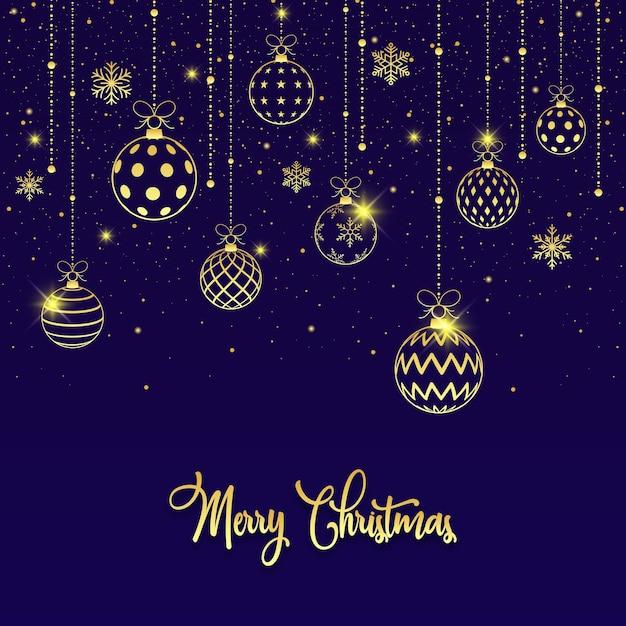 Feliz natal fundo de bolas douradas de natal Vetor Premium