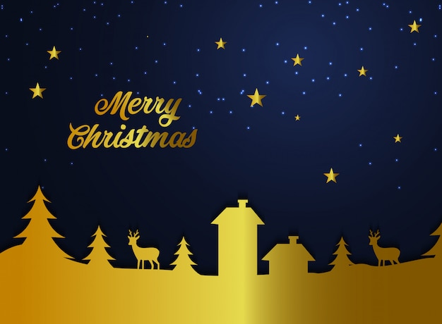 Feliz natal fundo ouro Vetor Premium