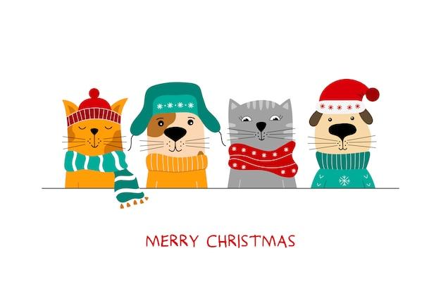 Feliz natal ilustração de gatos bonitos e cães do divertimento. Vetor Premium