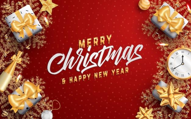 Feliz natal layout mídia social banner ou panfleto modelo. Vetor Premium