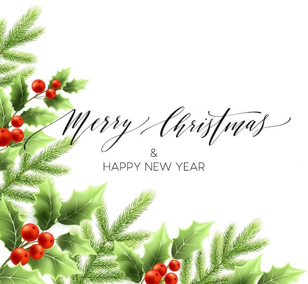 Feliz natal letras cartão com holly Vetor Premium
