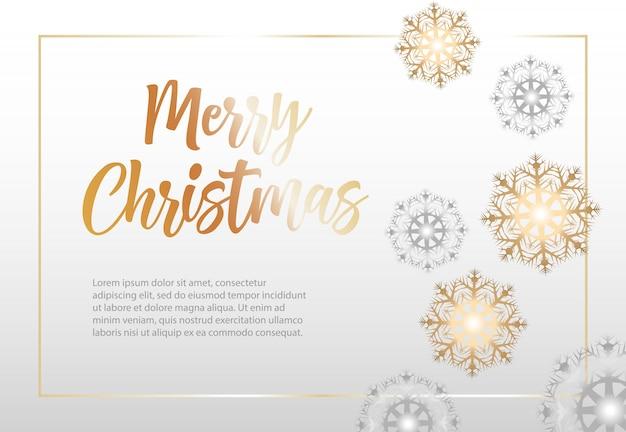 Feliz natal, lettering em moldura com flocos de neve Vetor grátis