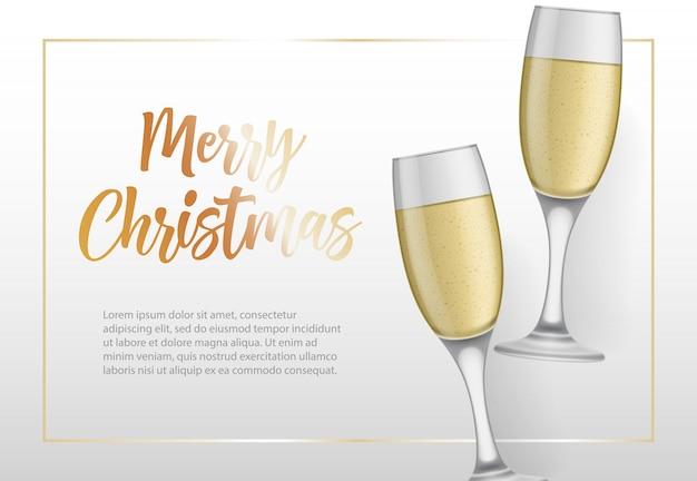 Feliz natal, lettering em moldura e taças Vetor grátis