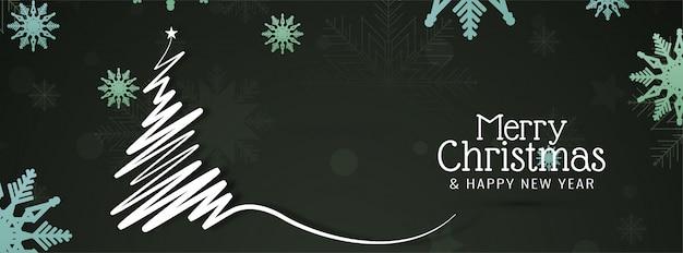 Feliz natal lindo banner festivo Vetor grátis
