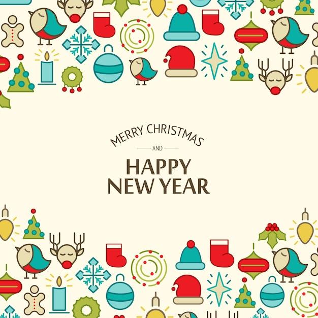 Feliz natal luz celebrando fundo com texto de saudação e ilustração vetorial de elementos coloridos de natal Vetor grátis