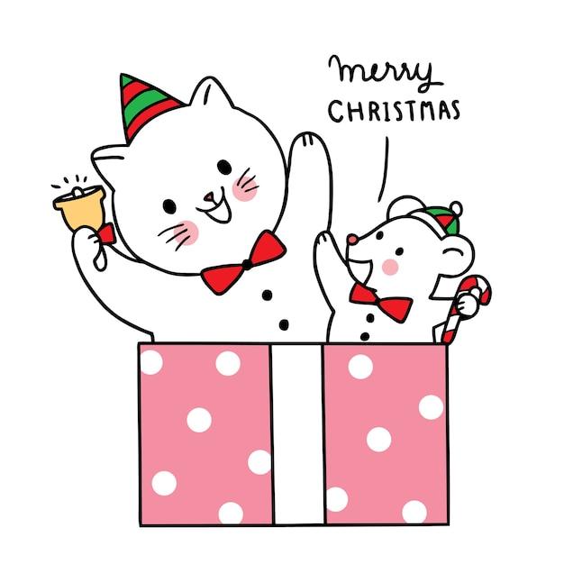 Feliz natal mão desenhar desenhos animados bonitos gato e moues em caixa de presente grande. Vetor Premium