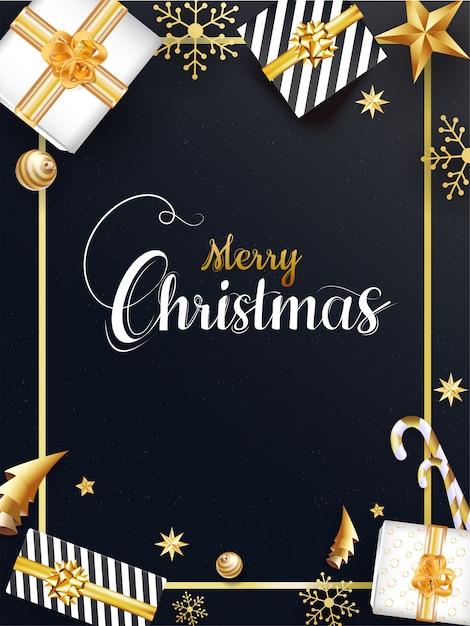 Feliz natal modelo com vista superior de caixas de presente, enfeites, estrelas, floco de neve, pirulito e origami árvore de natal de papel em fundo preto. Vetor Premium