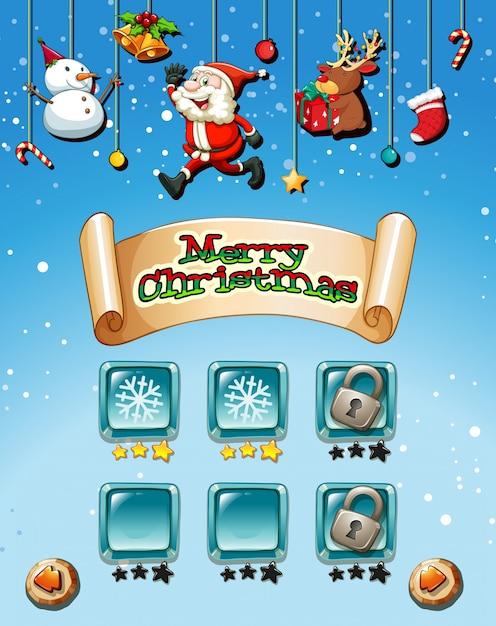 Feliz natal no modelo de jogo Vetor grátis