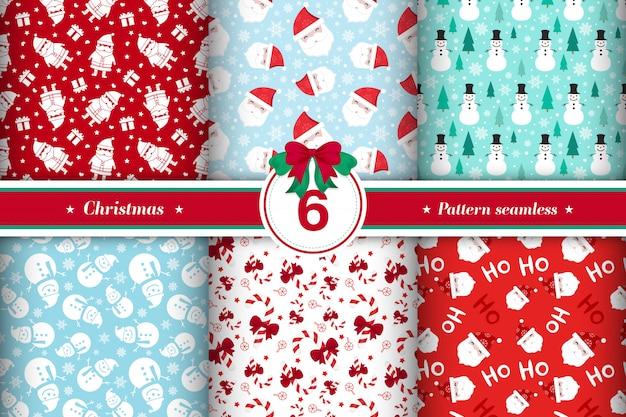 Feliz natal padrão sem costura coleção Vetor grátis