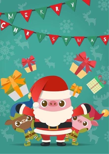 Feliz natal, porcos em papai noel e fantasia de elfo. Vetor Premium
