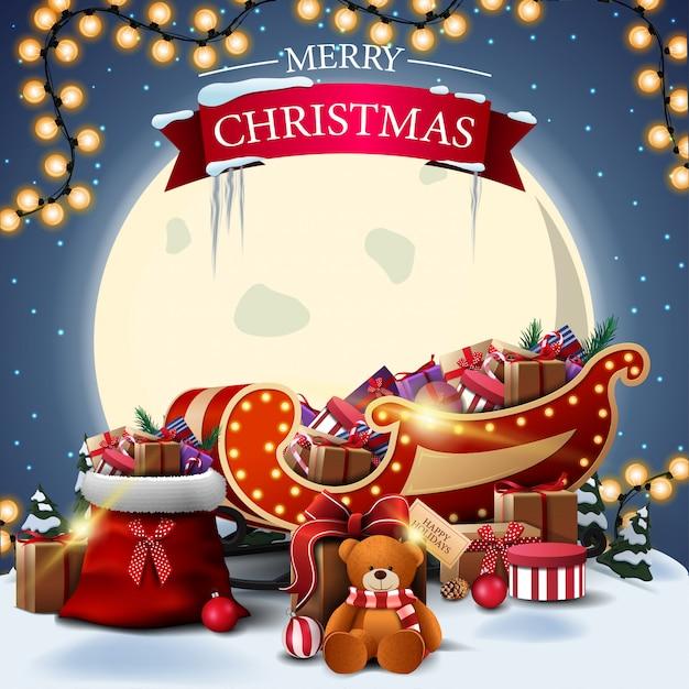 Feliz natal postal quadrado com paisagem de inverno Vetor Premium
