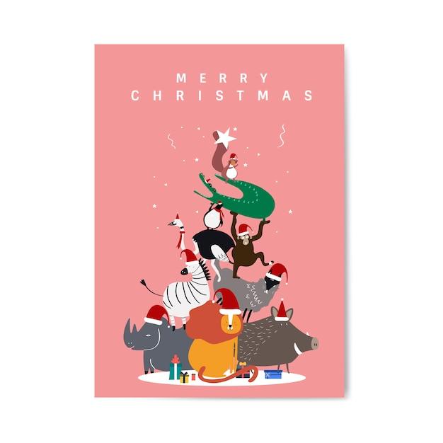 Feliz natal postal vector design Vetor grátis