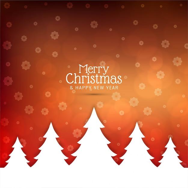 Feliz natal saudação fundo com árvore de natal Vetor grátis