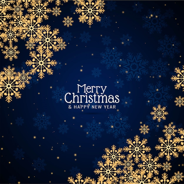 Feliz natal saudação fundo de flocos de neve Vetor Premium