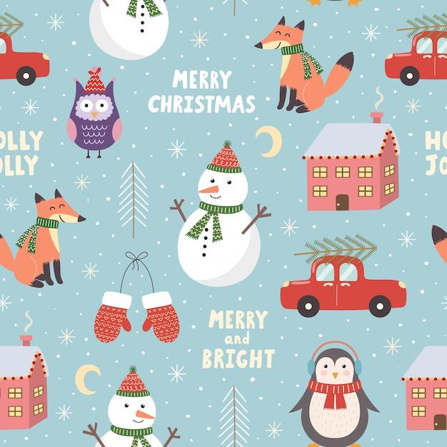 Feliz natal sem costura padrão com giro boneco de neve, raposa, coruja e pinguim. ilustração vetorial Vetor Premium