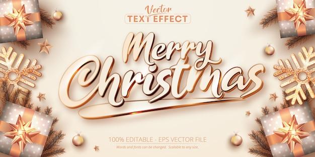 Feliz natal, texto, cor ouro rosa, estilo, efeito de texto editável Vetor Premium