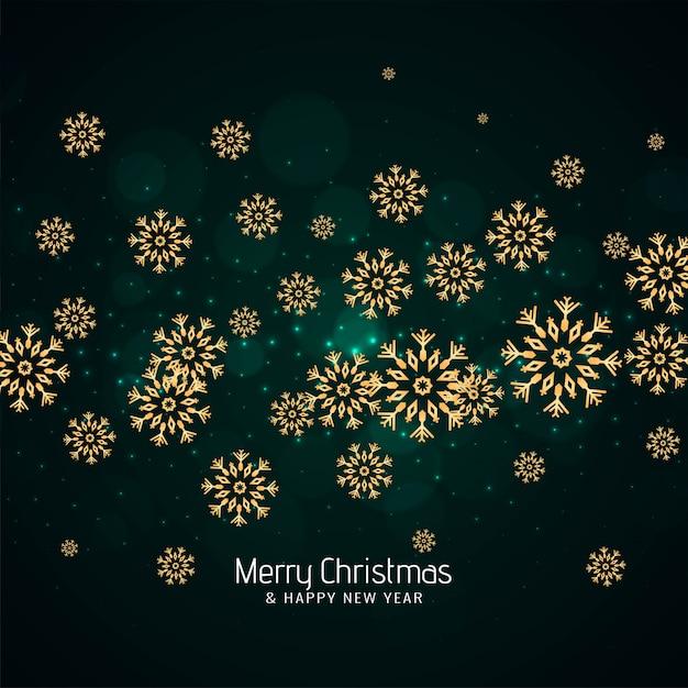 Feliz natal verde fundo com flocos de neve Vetor grátis