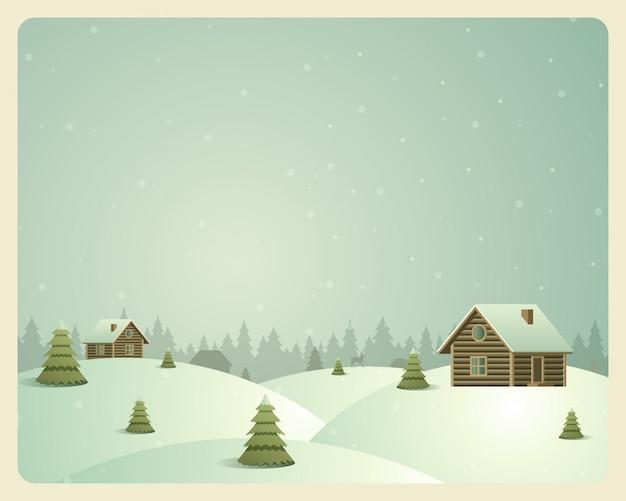 Feliz natal vintage cartão aldeia e floresta Vetor Premium