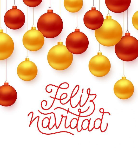 Feliz navidad espanhol feliz natal linha arte estilo lettering texto com vermelho e dourado Vetor Premium