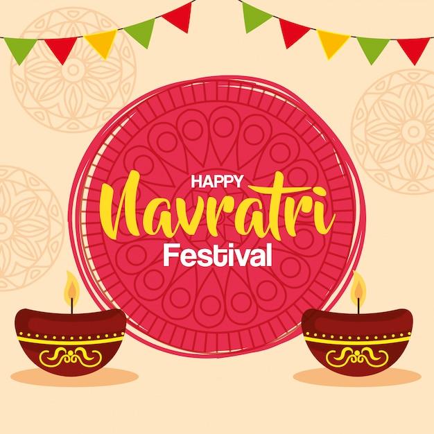 Feliz navratri celebração cartão com velas em pote de cerâmica e guirlandas decoração vector design ilustração Vetor Premium