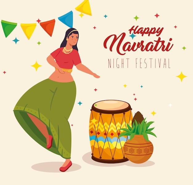 Feliz navratri, pôster de celebração do festival noturno com mulher dançando e ilustração de decoração Vetor Premium