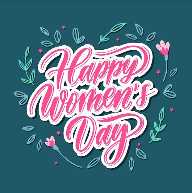 Feliz o dia da mulher - cartão de rotulação de mão. Vetor Premium