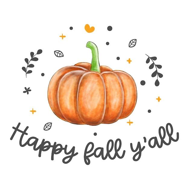 Feliz outono vocês citam com abóbora. Vetor Premium