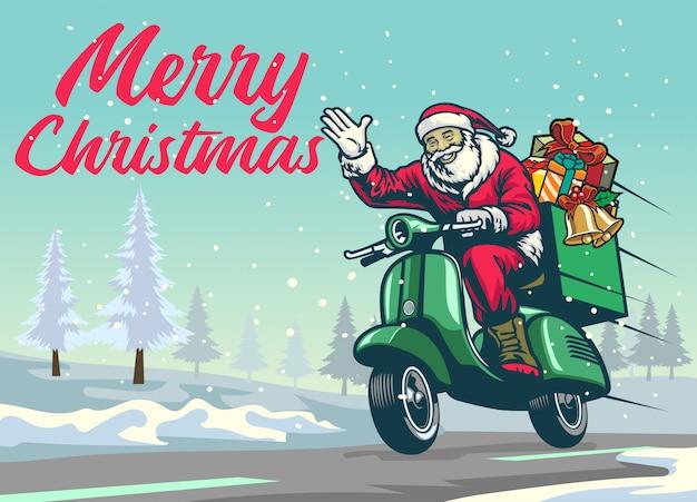 Feliz papai noel andando de scooter vintage no meio do inverno de natal Vetor Premium