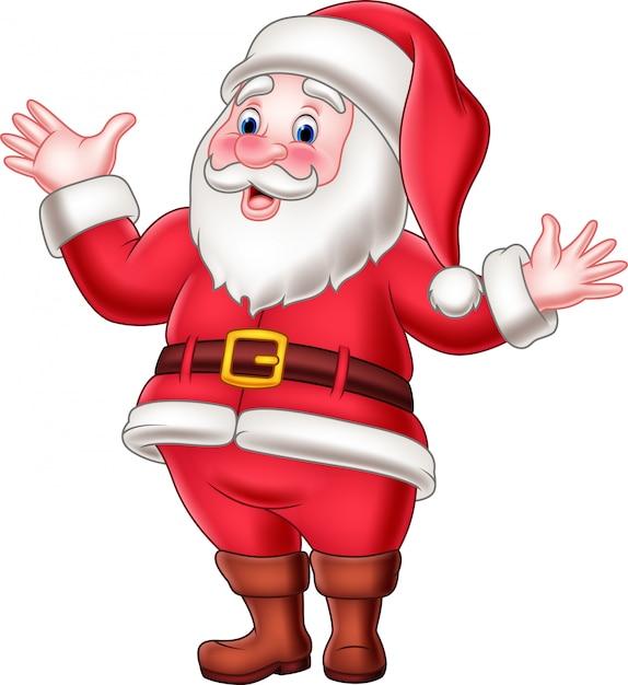 Feliz Papai Noel Dos Desenhos Animados Acenando Vetor Premium