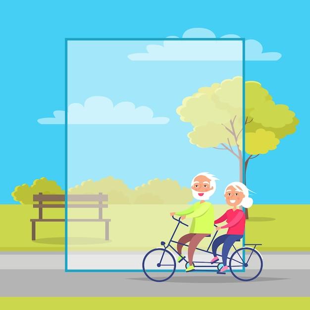 Feliz, par maduro, montando, junto, ligado, bicicleta Vetor Premium