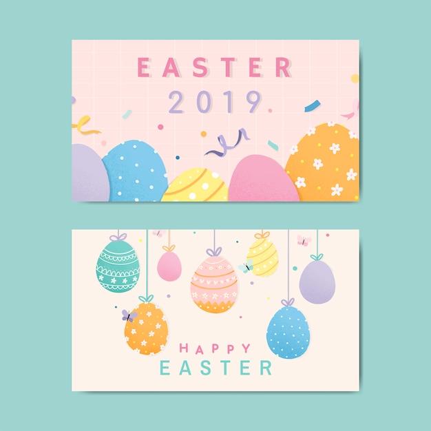 Feliz páscoa 2019 design de cartão Vetor grátis