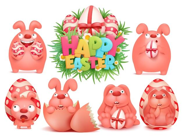 Feliz páscoa cartoon coelho rosa personagem emoji adesivo pacote conjunto Vetor Premium