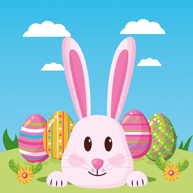 Feliz páscoa celebração ilustração Vetor grátis