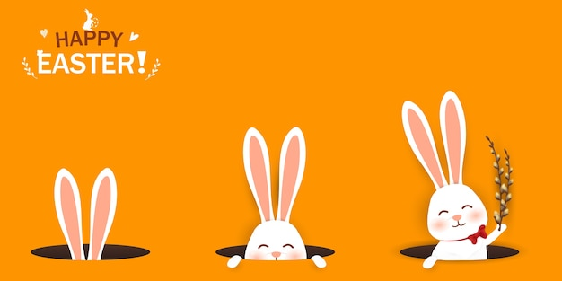 Feliz páscoa. coelhinho da páscoa olhando de um buraco. personagem de coelho bonito e engraçado dos desenhos animados. Vetor Premium
