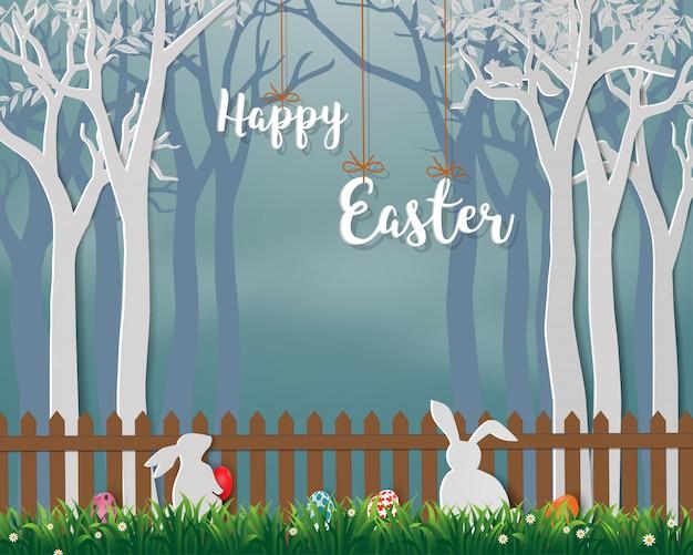 Feliz páscoa com coelhos bonitos e ovos coloridos Vetor Premium