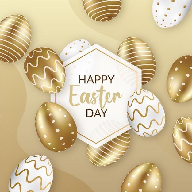 Feliz páscoa dia dourado e ovos brancos Vetor grátis