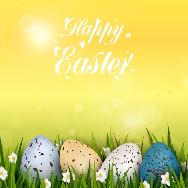 Feliz páscoa fundo com ovos de codorna decorados coloridos realistas, grama e flores Vetor Premium