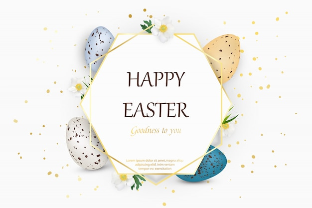 Feliz páscoa fundo com ovos de páscoa decorados realista codorna Vetor Premium
