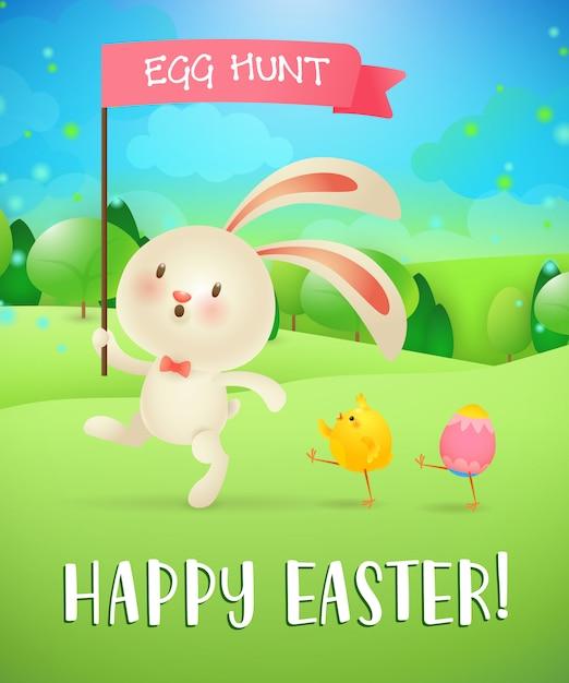 Feliz páscoa, ovo caça letras, coelho, garota, ovo, paisagem Vetor grátis