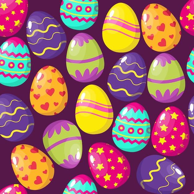 Feliz páscoa ovos sem costura padrão Vetor Premium